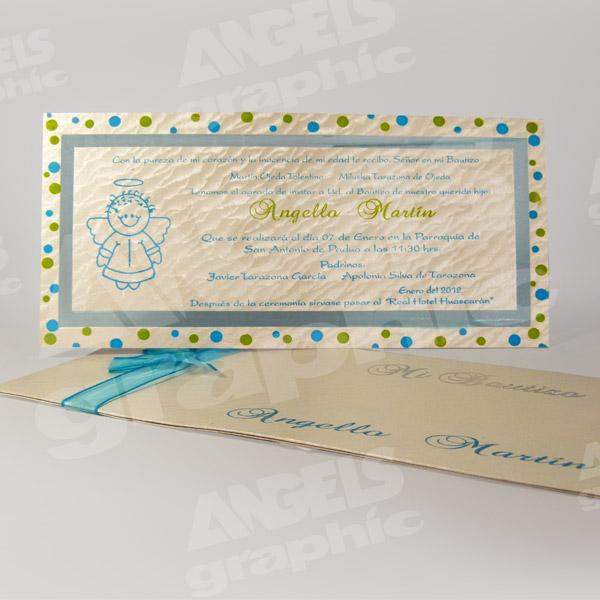 Tarjeta De Invitación Para Bautizo Bz 46533 Angels Graphic