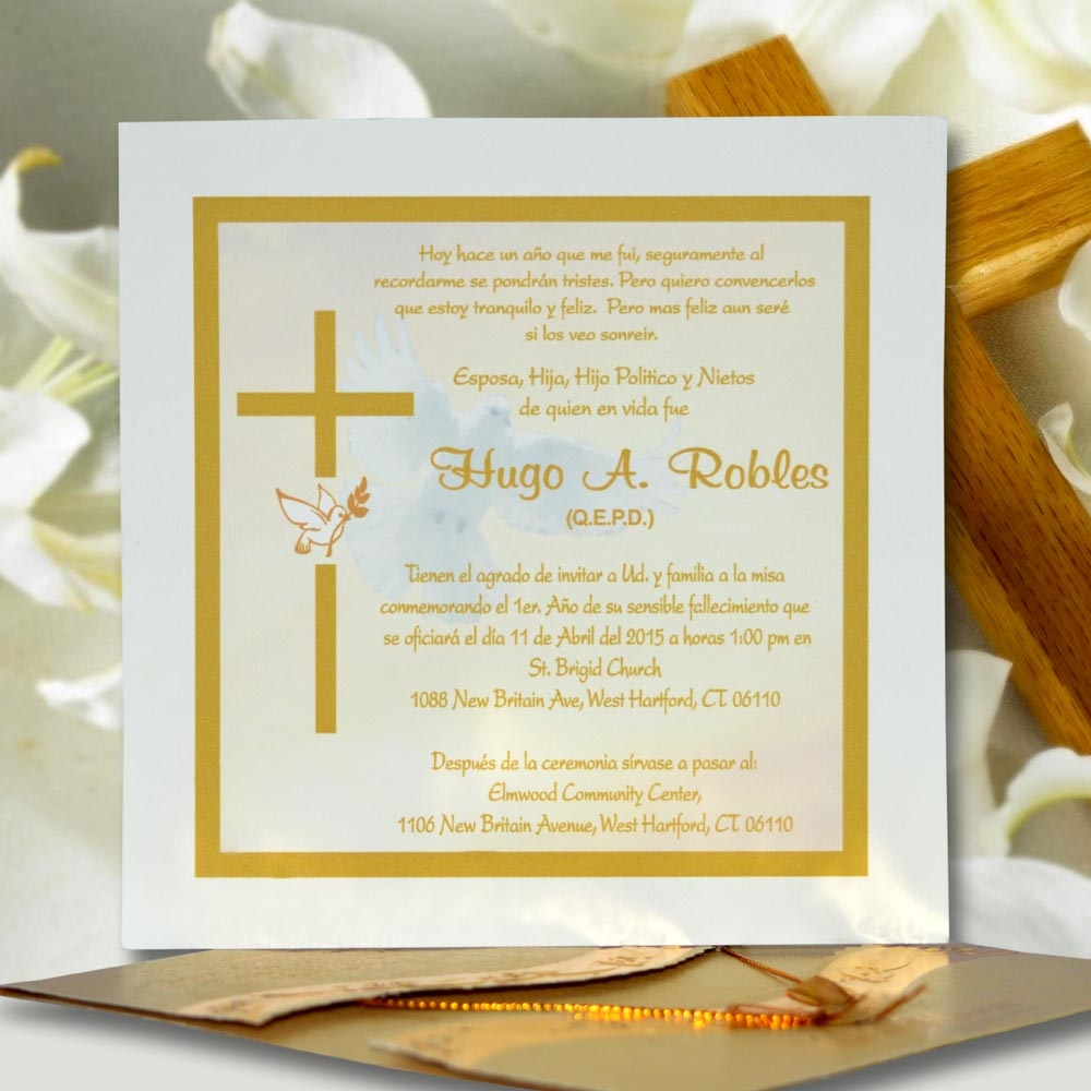 Invitación para Misa de Honras (hr-56850) - Angels Graphic