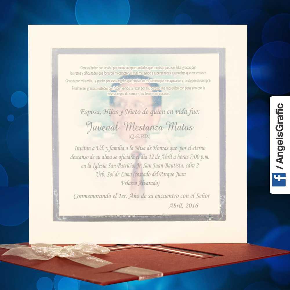 Misa De Honras Defuncion Hr 56854 Imprenta Lima Tarjeta