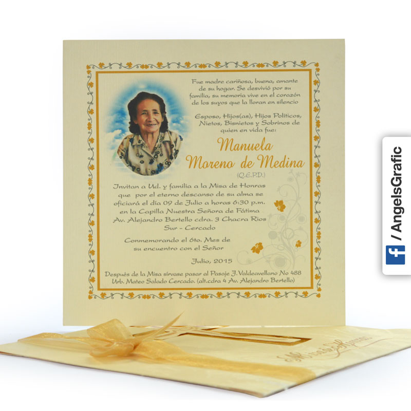 Invitación Para Misa De Honras Hr 56866 Angels Graphic