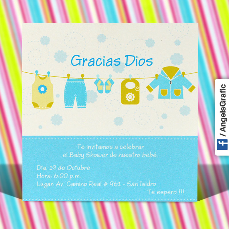 Tarjeta De Invitación Para Baby Shower Bs 387 Angels Graphic