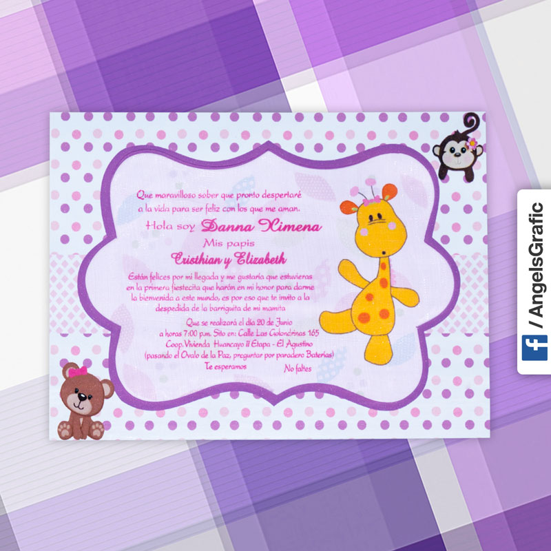 682ed8b44fb60 Tarjeta de Invitación para Baby Shower (bs-395) - Angels Graphic