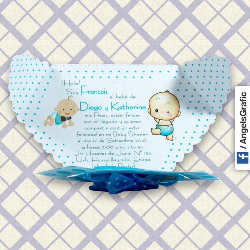 Tarjeta De Invitación Para Baby Shower Bs 401 Angels Graphic