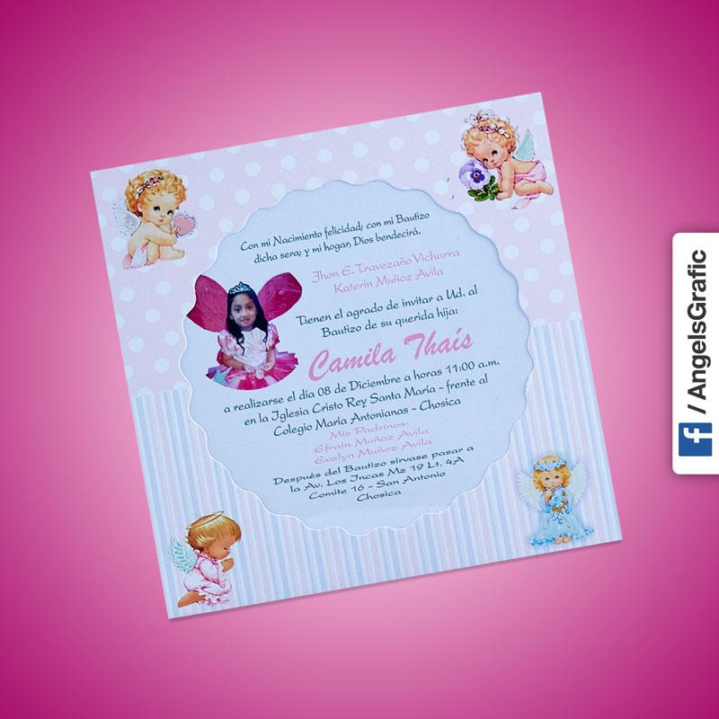 Tarjeta De Invitaci N Para Bautizo Bz 46559 Angels Graphic
