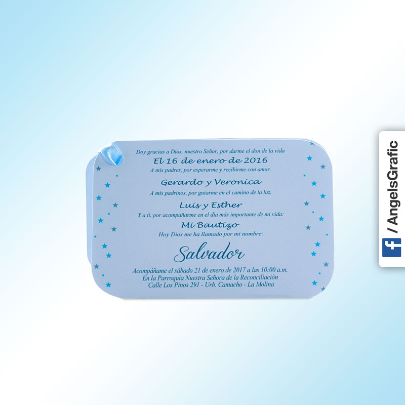 Tarjeta De Invitación Para Bautizo Bz 46562 Angels Graphic