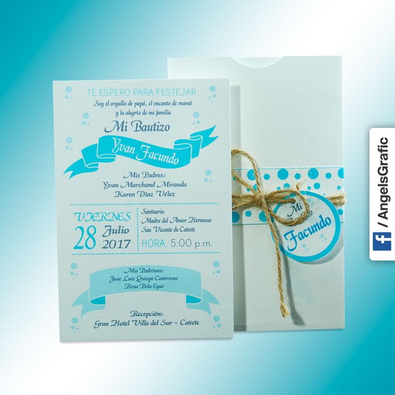 Tarjeta De Invitación Para Bautizo Bz 46569 Angels Graphic