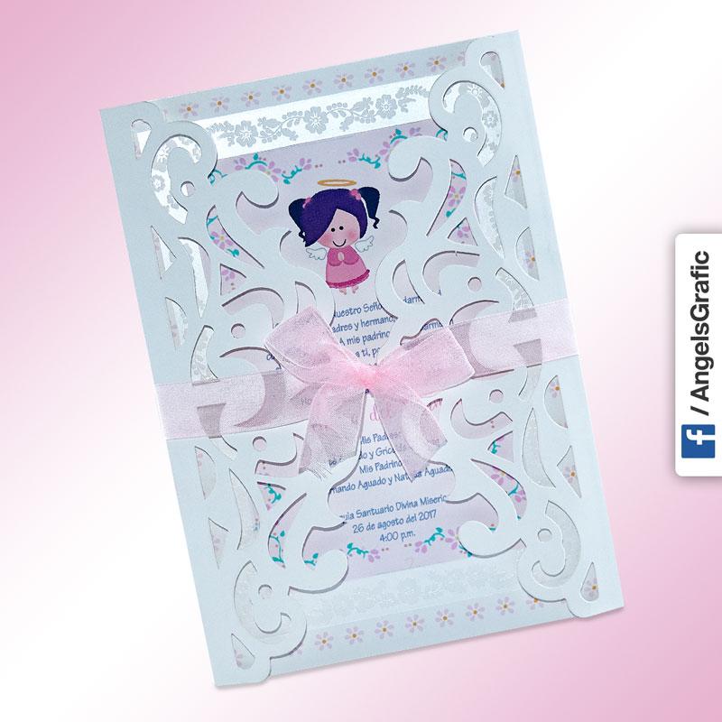 Tarjeta De Invitación Para Bautizo Bz 46570 Angels Graphic